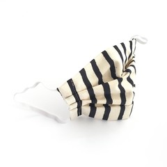 Striped Black and White Face Mask with Filter Pocket And Nose Bridge Wire