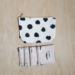 Gift pack special: OUMU zipper pouch and a set of 4 fabric coasters