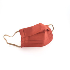 Burnt Orange Cotton Mask with Filter Pocket  and Nose Wire Mask - Pleated Fabric