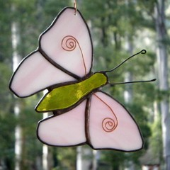 White and Pale Lavender Stained Glass Butterfly Suncatcher