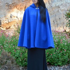 Short Bright Blue Wool Blend Cloak