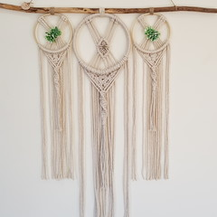 Harmony - Ivory dreamcatcher trio wall hanging, recycled cotton