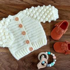 Cream Hand Crocheted Baby Bobble Cardigan  0-6 months