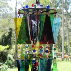 Triangle Glass Multi coloured Stained Glass Wind chime, Suncatcher