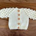 Cream Hand Crocheted Baby Bobble Cardigan  0-3 months