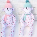 'Bella' the Sock Monkey - peach or mint accessories - *READY TO POST*