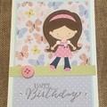 Girl Birthday Handmade Card - FREE POST