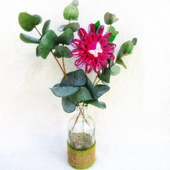 Flower Stem Jute Twine Paper Raffia Vase Decoration Pink Butterfly Gift Wrapped
