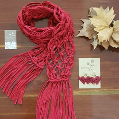 Mothers Day Gift Set - Scarf and Earrings - Sustainable Fashion