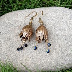 Snow Bell Flower Earrings - czech crystals, choose gold, silver, copper or brass