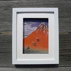 Dream of Mt Fuji - cheerful framed artwork of cranes on Hokusai print