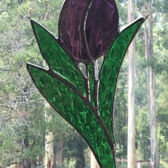 Tall Purple Tulip Stained Glass Suncatcher