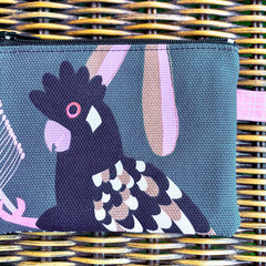 Coin purse, small zip purse, zipper coin purse, black cockatoo zipper pouch, med