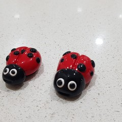 Polymer Clay Ladybug / Lady Beetle fridge magnets