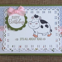 Cow Birthday Handmade Card - FREE POST