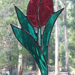 Tall Red Tulip Stained Glass Suncatcher, Handmade in Australia