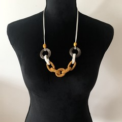 Crochet Ring Necklace - Mustard & White