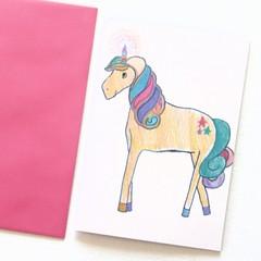 Blank Art Card, Unicorn, Thinking of You Card, Thank You Card, Birthday Card