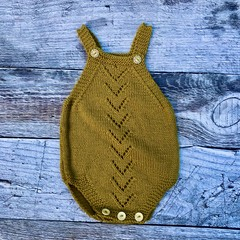 Hand Knitted Baby's Romper in Mustard/Gold