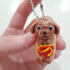 Polymer clay Hot dog keyring or bag decoration/charm