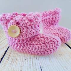 Pink crochet princess boots