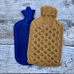 Cozy Hand Knitted Hot Water Bottle Cover in Mustard/Gold colour