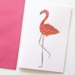 Blank Card, Flamingo, Birthday Card, Thank You Card, Thinking Of You Card