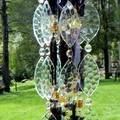 Stained Glass Wind chime in Amber, Purple and Clear glass