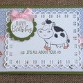 Cow Birthday Handmade Card - FREE POST