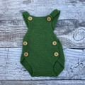 Hand Knitted Baby's Romper in Green
