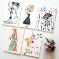 5 Blank Cards, Gift Tags,  Mini Cards, Fashion Queens, Birthday Thank You  Baby
