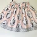 Pink and grey unicorns girls skirt