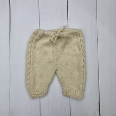 Hand Knitted Cream Pure Wool Pants to fit Baby of approx 0-3 months