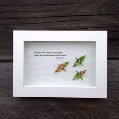 Custom made inspiration gift with origami cranes - you can move a mountain