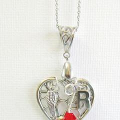 Keepsake Birthstone Bead HEART Pendant Customize your own.