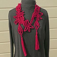 "sale:  ""Doodle"" scarf woollen, crocheted, funky necklace"