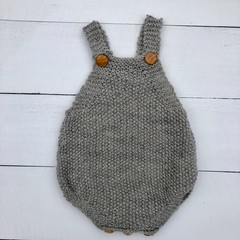 Hand Knitted Baby's Romper in Grey Pure Wool, fits 0-3 months