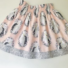 Pink and grey unicorns girls skirt