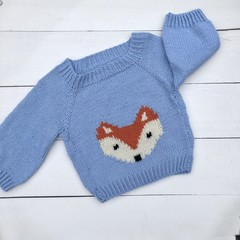 Hand Knitted Light Blue Pure Wool Jumper with Super Cute Woodland Fox on Front