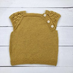 Gorgeous Hand Knitted Short Sleeved Top in Gold Pure Wool, fits 2 years