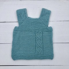 Hand Knitted Milo Vest, made with Mint/Teal coloured pure wool, For 0-3 months