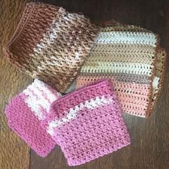 Reusable Wash Clothes - Pink & Brown Mix
