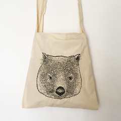 Screen printed wombat (joey) calico bag