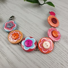 Bracelet - Flower Power - Mixed Button Bracelet