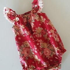Red Floral Playsuit Size 000, 00, 0 & 1