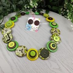 Rainforest Magic - Button Necklace - Button Earrings