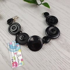 Bracelet - Black - Mixed Button Bracelet