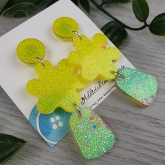 Yellow Sparkle Flower Drop Resin - Stud Dangle earrings
