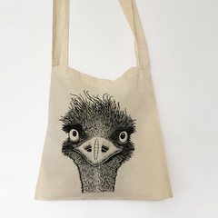 Screen printed emu shoulder bag