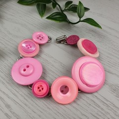 Bracelet - Pink - Mixed Button Bracelet